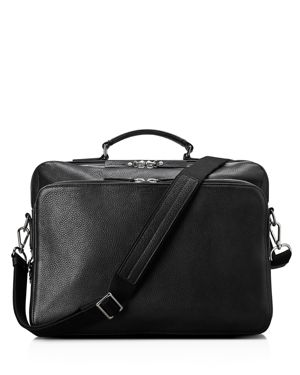 Luxe Grain Canfield Leather Messenger Bag - Black
