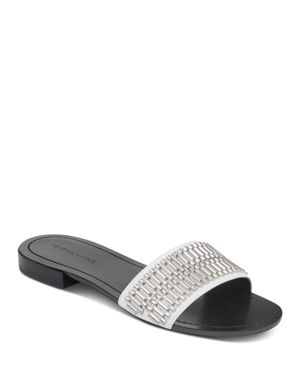 KENDALL AND KYLIE WOMEN'S KENNEDY EMBELLISHED LEATHER SLIDE SANDALS