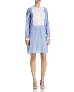 STRIPED SILK TUNIC SHIRT DRESS