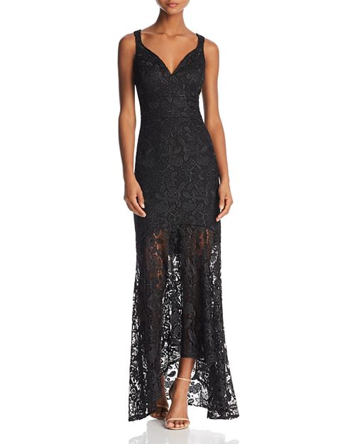 Nicole Miller New York Nicole Miller Sleeveless Lace Sheer Hem Gown