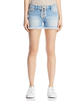 Mavi - Emily Lace-Up Denim Shorts in Light Summer Lace