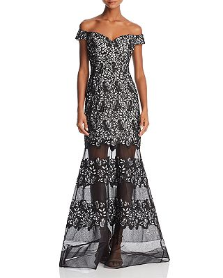 Aidan Mattox Off The Shoulder Floral Lace Gown Bloomingdales