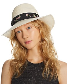 AQUA Embroidered-Trim Panama Hat - 100% Exclusive - Bloomingdale's_0
