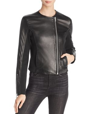 Harrison Stretch Panel Leather Jacket in Black