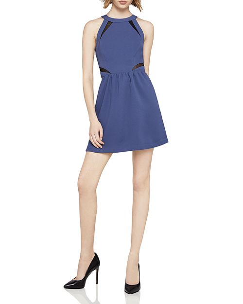BCBGeneration - Mesh-Inset Fit-and-Flare Dress