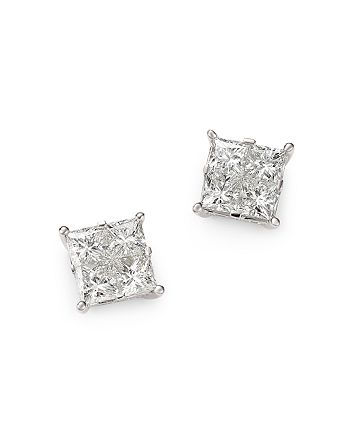 Bloomingdale's - Diamond Seamless Princess-Cut Studs in 14K White Gold, 2.50 ct. t.w. - 100% Exclusive