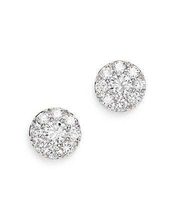 Bloomingdale's - Diamond Cluster Halo Stud Earrings in 14K White Gold, 0.75 ct. t.w. - 100% Exclusive