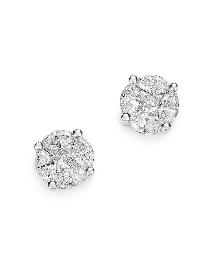 Bloomingdale's - Diamond Cluster Stud Earrings in 14K White Gold, 1.0 ct. t.w. - 100% Exclusive