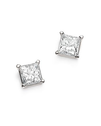Bloomingdale's - Diamond Princess-Cut Studs in 14K White Gold, 1.50 ct. t.w. - 100% Exclusive