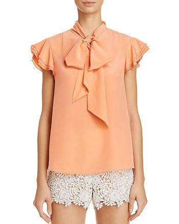 8da8128cb7587c Alice and Olivia Alice + Olivia Laney Tie-Neck Silk Top