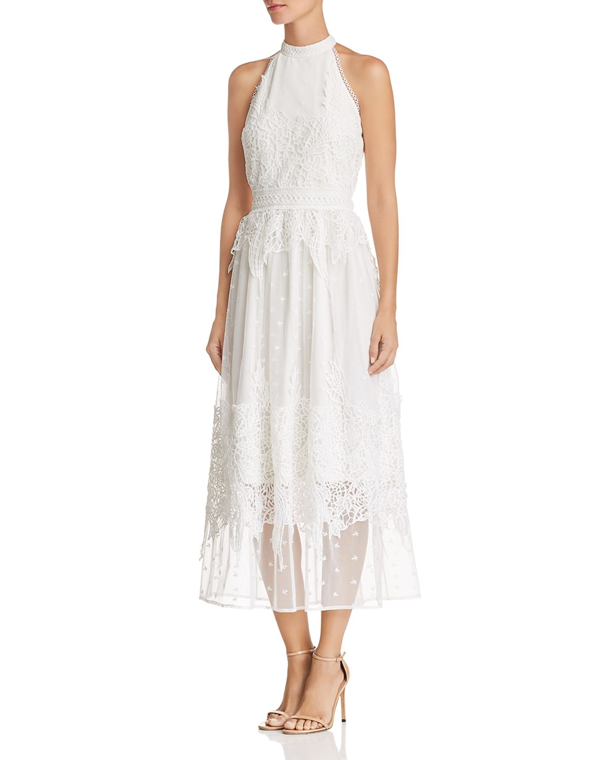 Botanical Lace Appliqué Midi Dress   100 Percents Exclusive by Vince Camuto Petites