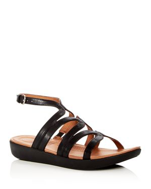 FITFLOP Strata Leather Gladiator Sandals in Black
