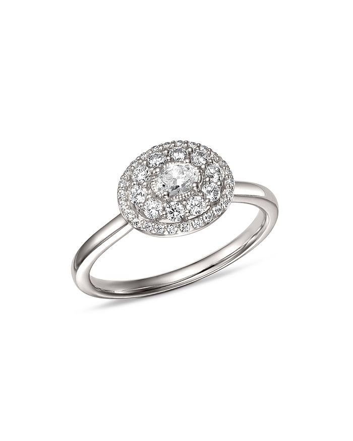Bloomingdale's - Diamond Halo Oval Ring in 14K White Gold, 0.50 ct. t.w. - 100% Exclusive