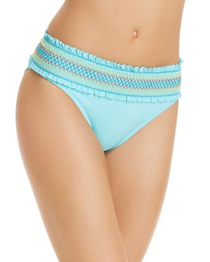BLEU ROD BEATTIE BLEU BY ROD BEATTIE SMOCKED HIPSTER BIKINI BOTTOMS