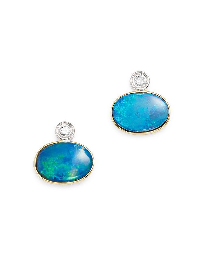 14k White Yellow Gold Opal Stud Earrings