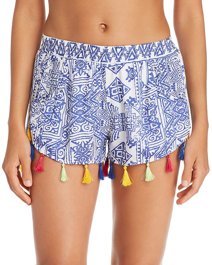 6eec1f64fa Surf Gypsy Mykonos Print Tassel Detail Shorts Swim Cover-Up ...