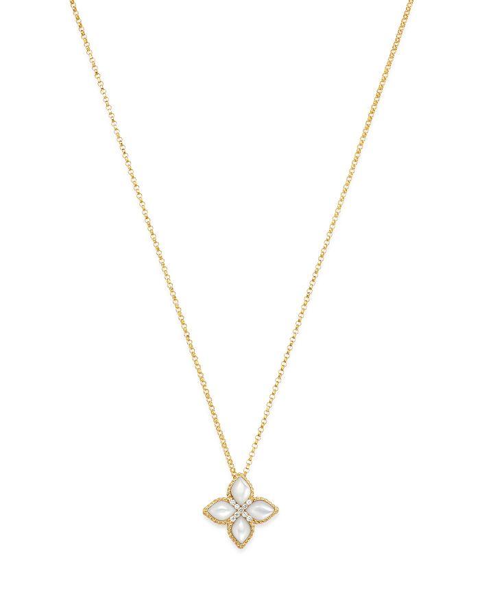"Roberto Coin - 18K Yellow Gold Venetian Princess Diamond & Mother-Of-Pearl Necklace, 16"""