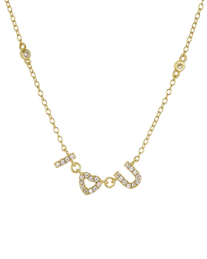 Aqua I Heart U Pave Pendant Necklace In 18k Gold-plated Sterling Silver, 16 - 100% Exclusive