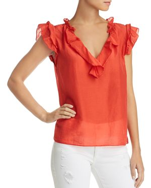 SILK AND COTTON RUFFLED TOP
