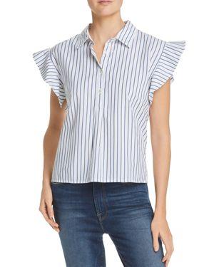 Flutter Sleeve Stripe Shirt in Blanc Multi