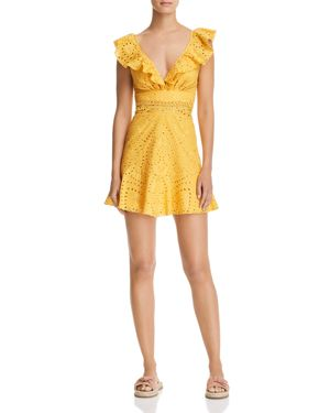 KARINA GRIMALDI CONNIE EYELET MINI DRESS