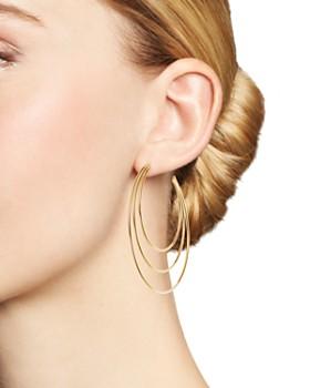 Moon & Meadow - 14K Yellow Gold Polished Triple Open Hoop Earrings - 100% Exclusive