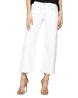 Sanctuary Flare Crop Released Hem Jeans in White 3052803