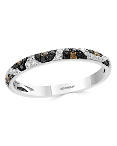 Bloomingdale's Black, White & Brown Diamond Leopard Spot Ring in 14K White Gold - 100% Exclusive _0