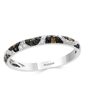 Bloomingdale's Black, White & Brown Diamond Leopard Spot Ring in 14K White Gold - 100% Exclusive