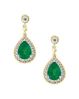 Bloomingdale's - Emerald & Diamond Beaded Earrings in 14K White & Yellow Gold - 100% Exclusive