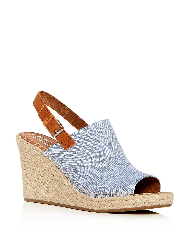 TOMS Women's Monica Hemp Chambray Espadrille Platform Wedge Sandals RGid8nrSwx