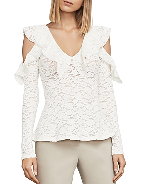 Bcbgmaxazria Astril Cold-Shoulder Lace Top