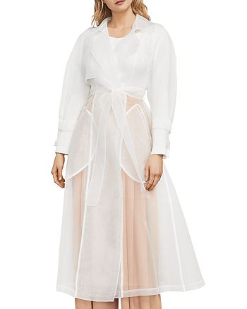 sports shoes custom for sale BCBGMAXAZRIA Calico Sheer Organza Trench Coat   Bloomingdale's