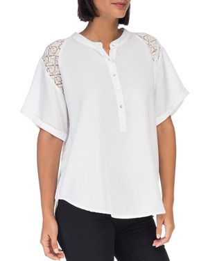 B COLLECTION BY BOBEAU Carey Lace-Shoulder Short-Sleeve Blouse in White