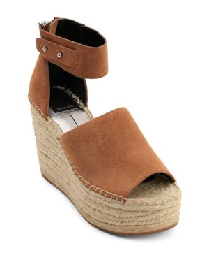 WOMEN'S STRAW SUEDE PLATFORM WEDGE ESPADRILLE SANDALS