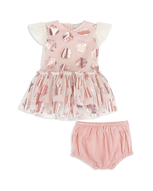 Stella McCartney Girls MetallicSeashell Print Mesh Dress  Bloomers Set  Baby