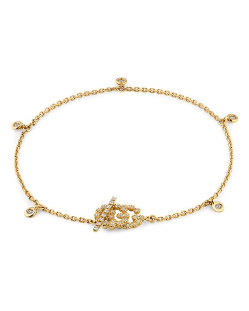 Gucci - 18K Yellow Gold GG Running Chain Diamond Bracelet