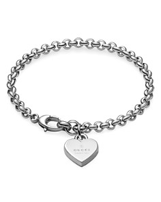 Gucci Sterling Silver Heart Charm Trademark Bracelet - Bloomingdale's_0