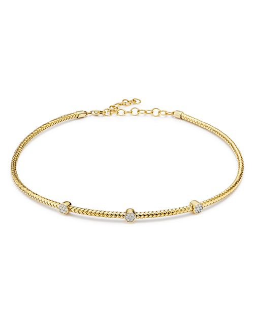 Bloomingdale's - Diamond Cluster Trio Cable Choker Necklace in 14K Yellow Gold, 0.20 ct. t.w. - 100% Exclusive