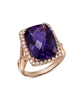 Bloomingdale's - Amethyst Cushion & Diamond Statement Ring in 14K Rose Gold - 100% Exclusive