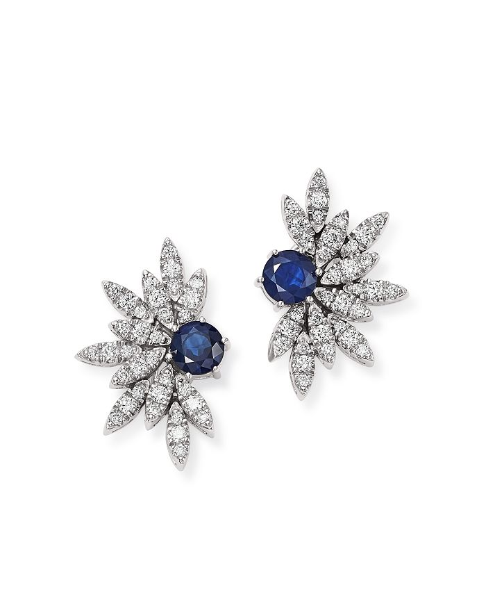 Bloomingdale's - Blue Sapphire & Pavé Diamond Statement Earrings in 14K White Gold - 100% Exclusive