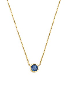"""Bloomingdale's - Blue Sapphire Bezel Pendant Necklace in 14K Yellow Gold, 16"""" - 100% Exclusive"""