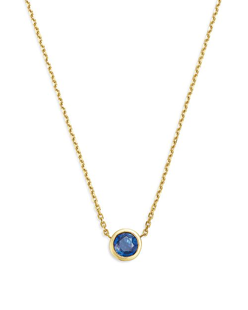 "Bloomingdale's - Blue Sapphire Bezel Pendant Necklace in 14K Yellow Gold, 16"" - 100% Exclusive"