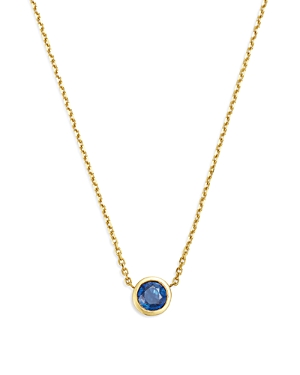 Bloomingdale's Blue Sapphire Bezel Pendant Necklace in 14K Yellow Gold, 16 - 100% Exclusive