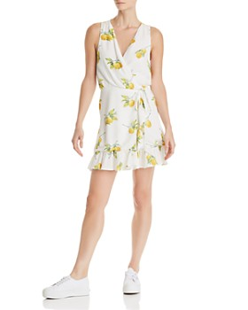 Rails - Madison Lemon Print Silk Wrap Dress