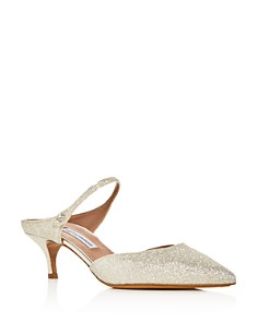 Tabitha Simmons - Women's Liberty Glitter Pointed Toe Kitten Heel Mules