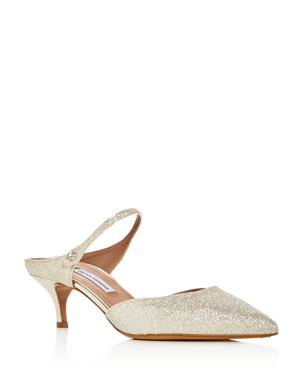 Tabitha Simmons Women's Liberty Glitter Pointed Toe Kitten Heel Mules