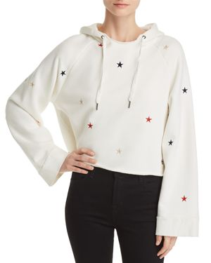 Embroidered Cropped Hooded Sweatshirt in White