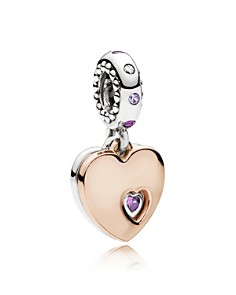 PANDORA - Rose Gold-Tone Sterling Silver Part of My Heart Drop Charm