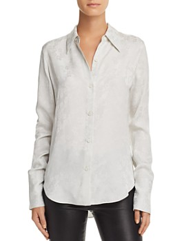 Theory - Tonal Floral Button Down Blouse